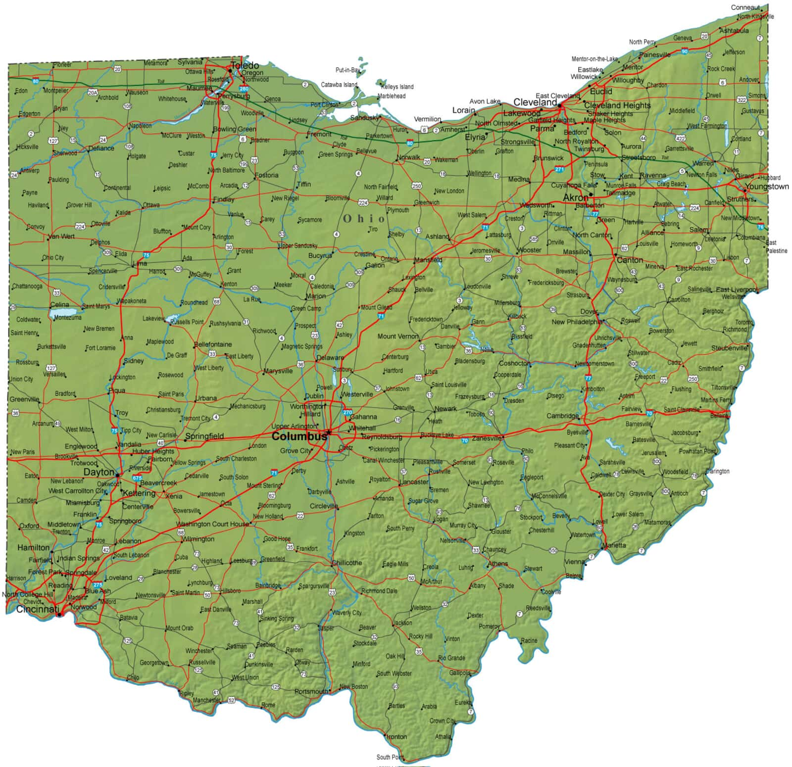 Detailed Ohio Map Oh Terrain Map