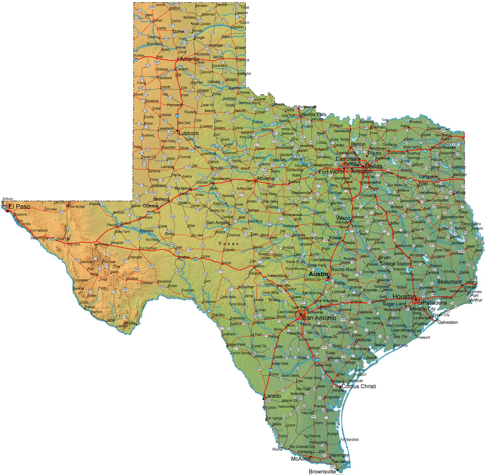 Large Map Of Texas.Detailed Texas Map Tx Terrain Map
