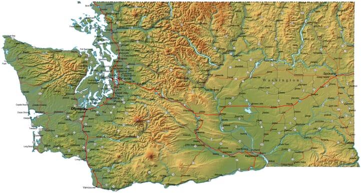 Detailed Washington Map WA Terrain Map - Map of the state of washington