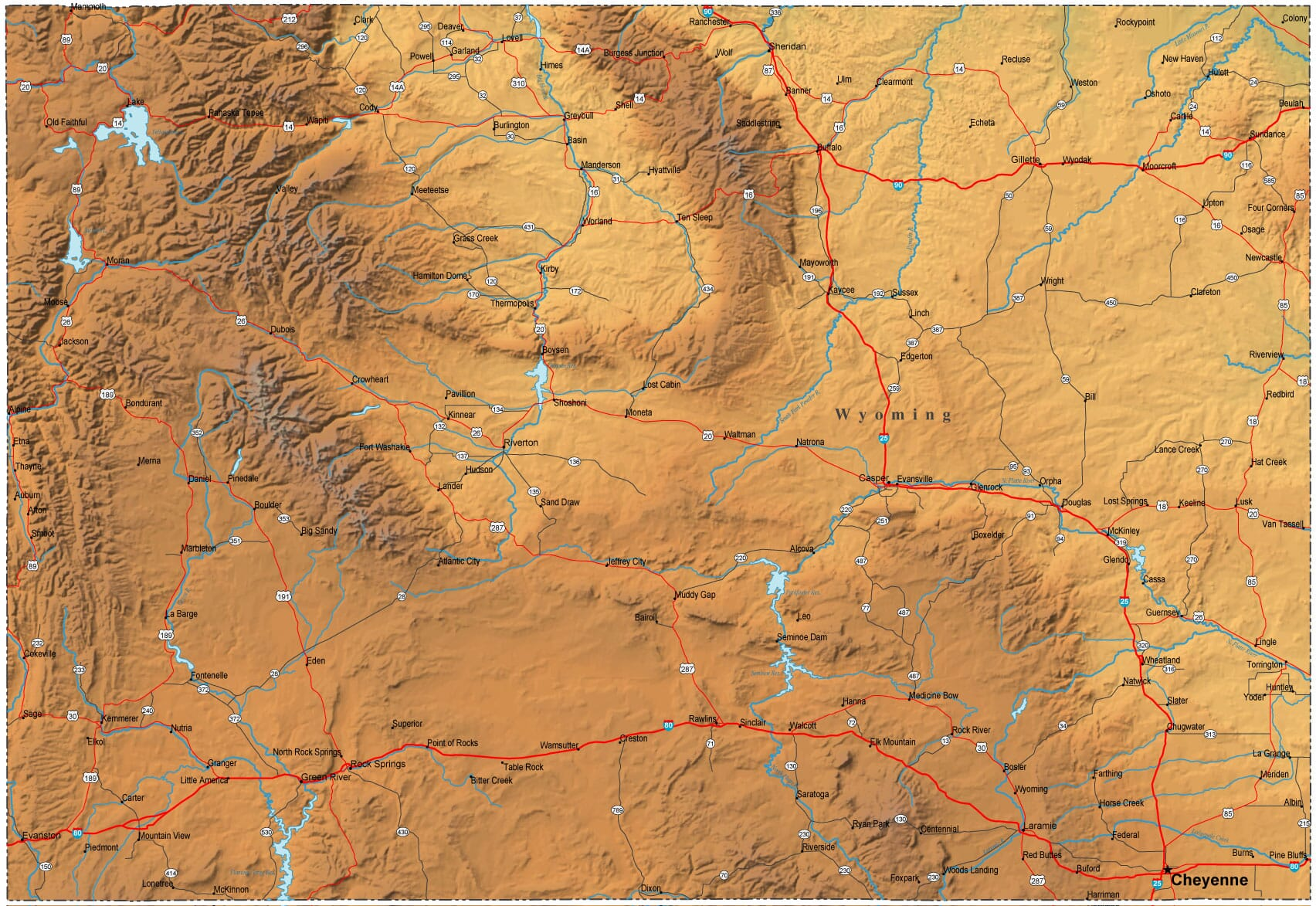Detailed Wyoming Map WY Terrain Map