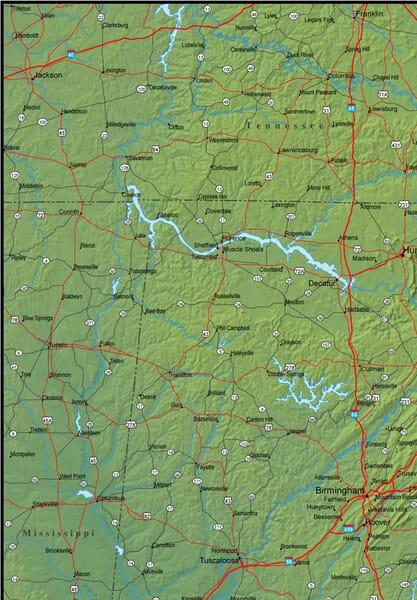 100 Alabama Map  Vintage Alabama Map Etsy