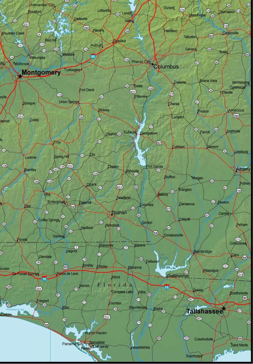 Southeast Alabama Map