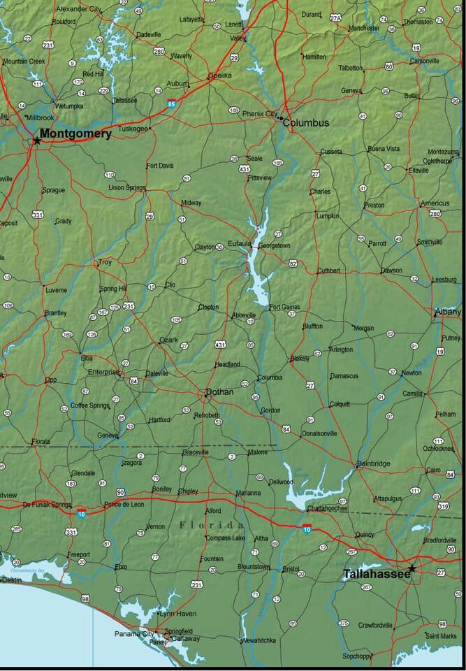 Southeast Alabama Map - Alabama airports