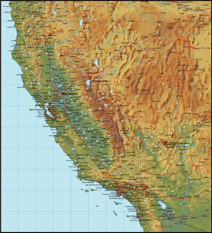Map Of California And The Surrounding Region - Detailed map of california