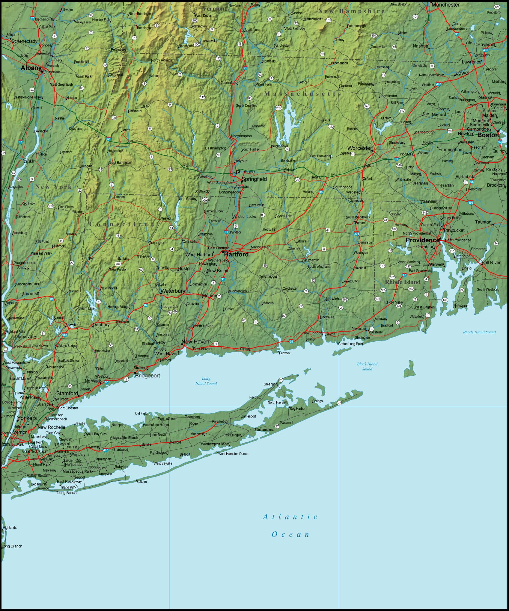 Map of Connecticut and the Surrounding Region