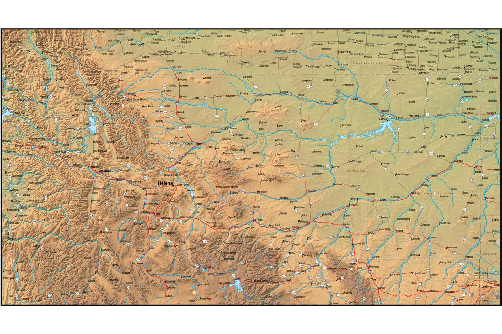 Map of Montana and the Surrounding Region Zoom Map Of Montana on zoom map of texas, atlas of montana, zoom in map, zoom map of united states,