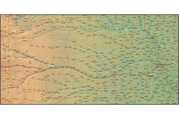 Map Of Nebraska And The Surrounding Region - Detailed map of nebraska