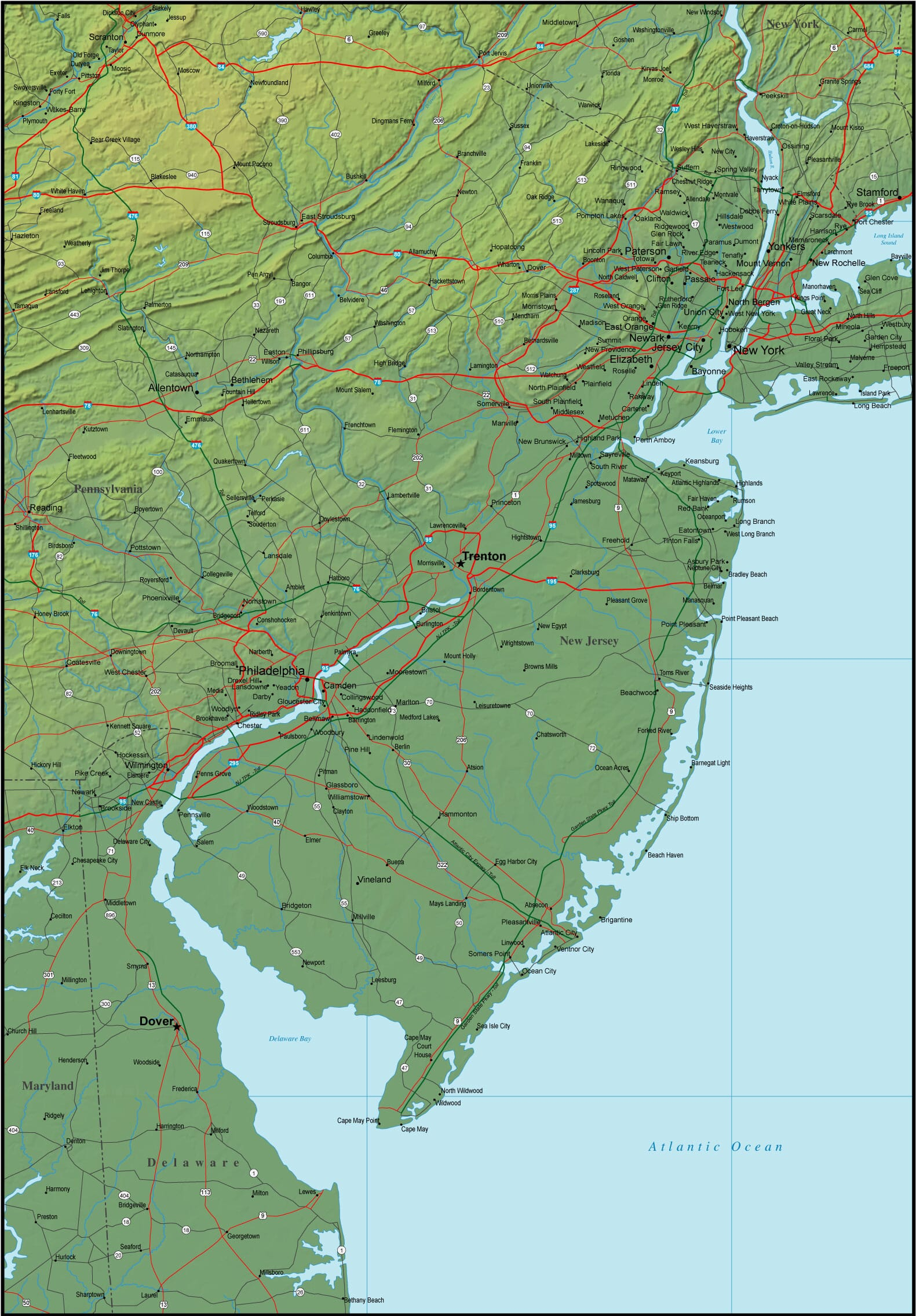 Map of New Jersey and the Surrounding Region