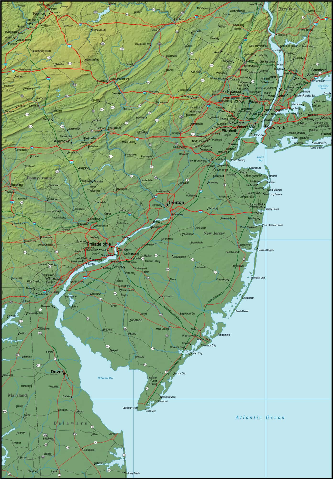 Map of New Jersey and the Surrounding Region Detailed Map Of New Jersey on
