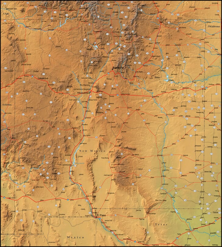 Map Of New Mexico And The Surrounding Region - Detailed map of new mexico