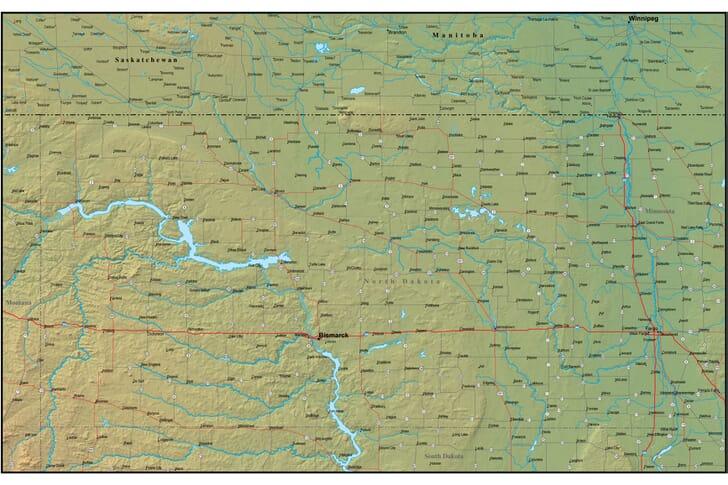 Ideas Map Of North Dakota And Surrounding States On - North dakota physical map
