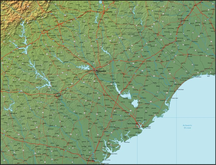 Map Of South Carolina And The Surrounding Region - Detailed map of south carolina