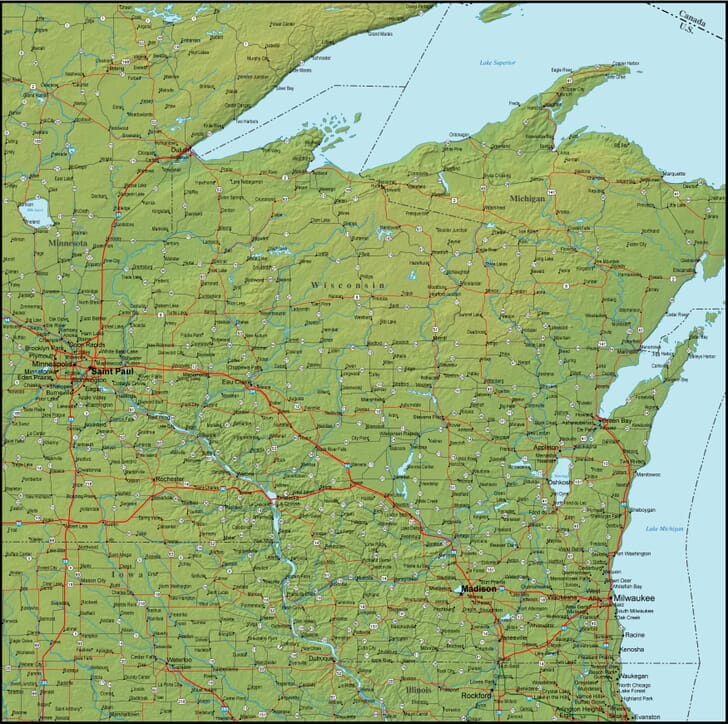Map Of Wisconsin And The Surrounding Region - Detailed map of wisconsin